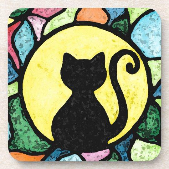 Set of 2 Watercolor style Black Cat Sandstone Car Coasters