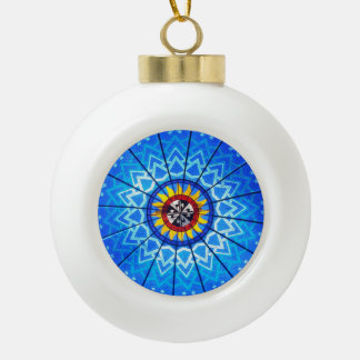 Stained Glass Ceramic Ball Christmas Ornament