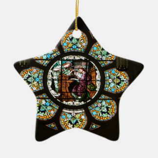 Stained glass ceramic star ornament