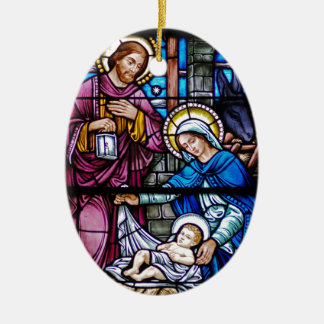 Stained Glass Christmas Ceramic Oval Ornament