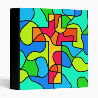 Stained Glass Cross 3 Ring Binder