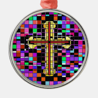 Stained Glass Crucifix. Silver-Colored Round Ornament