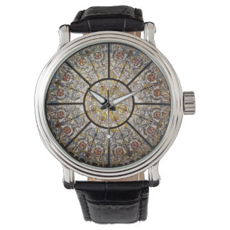 Stained Glass Custom Black Vintage Leather Watch