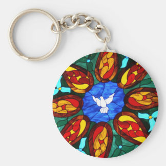 Stained Glass Dove Keychain