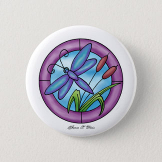 Stained Glass Dragonfly 2 Inch Round Button