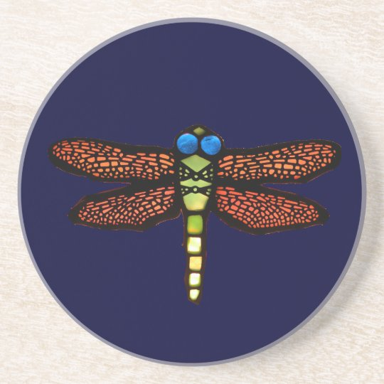 Stained Glass Dragonfly Coaster