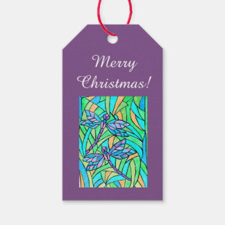 Stained Glass Dragonfly Gift Tags
