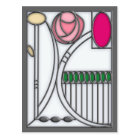 Stained Glass Effect Art Nouveau Roses Design Postcard