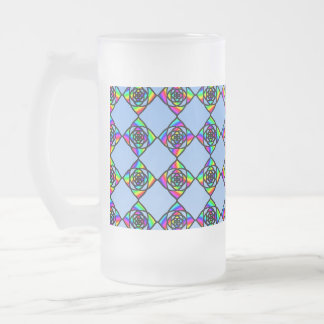 Stained Glass Effect Floral Pattern. Frosted Glass Beer Mug