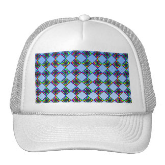 Stained Glass Effect Floral Pattern Trucker Hats