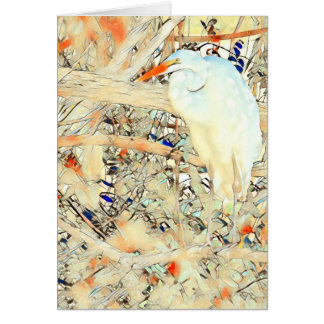 Stained Glass Egret Card