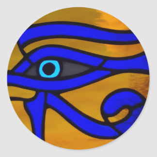 "Stained Glass ""Eye of Horus"" Classic Round Sticker"