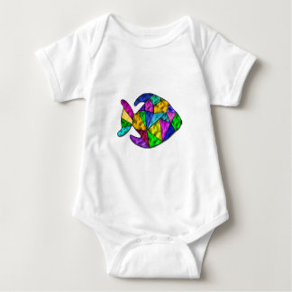 stained glass fish baby bodysuit