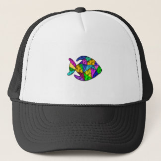 stained glass fish trucker hat