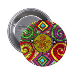 Stained Glass Fleur De Lis Abstract Pinback Buttons