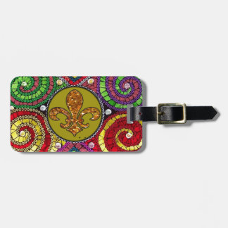 Stained Glass Fleur De Lis Abstract Luggage Tag