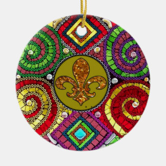 Stained Glass Fleur De Lis Abstract Round Ceramic Ornament