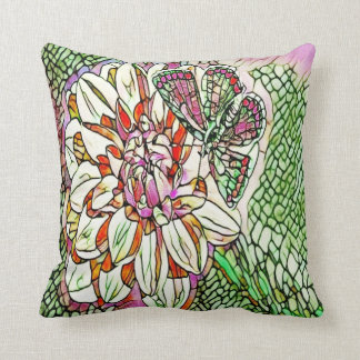 stained glass floral butterfly throw pillow