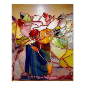 Stained Glass Flower Arrangement Elegant Poster
