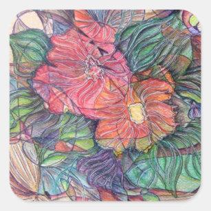 Flower Stained Glass Stickers Zazzle Ca