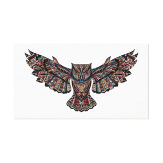Stained Glass flying owl canvas painting