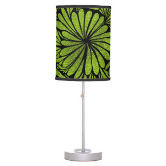 Stained Glass  Foil Flower Swirl Lime Table Lamp