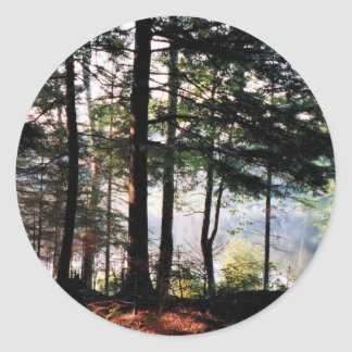 Stained Glass Forest Classic Round Sticker