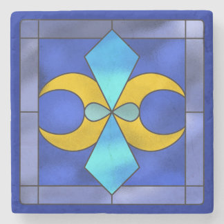 Stained Glass Geometric Moon Stone Coaster