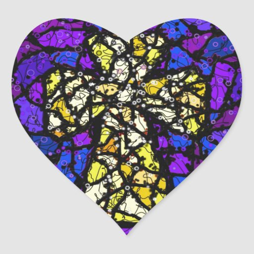 Stained glass gold Cross Heart Sticker
