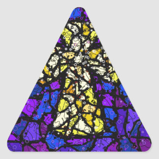 Stained glass gold Cross Triangle Sticker