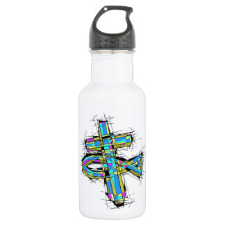 Stained glass graphic of The Cross and The Fish. 532 Ml Water Bottle