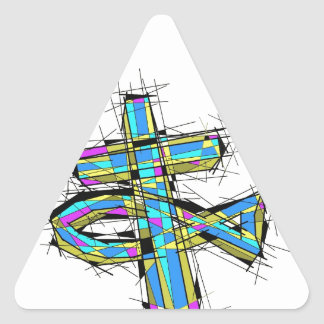Stained glass graphic of The Cross and The Fish. Triangle Stickers