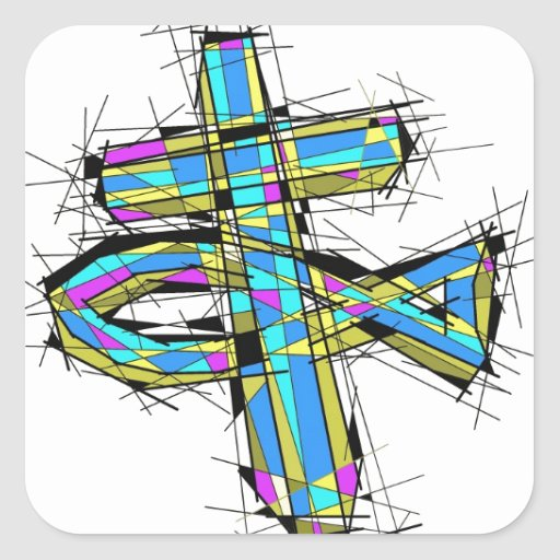 Stained glass graphic of The Cross and The Fish. Stickers