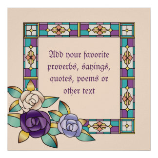 Stained Glass Hand-Drawn Roses Purple Peach Teal Poster
