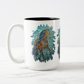 Stained Glass Horse Colored Pencil by NLM Two-Tone Coffee Mug