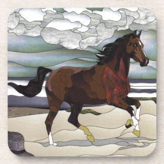 Stained glass horse drink coasters
