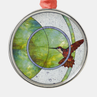 Stained glass hummingbird metal ornament