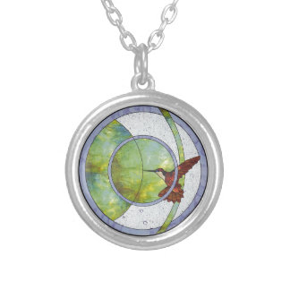 Stained glass hummingbird silver plated necklace