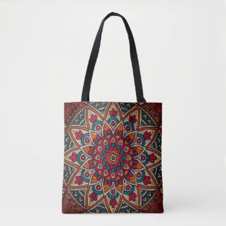 Stained Glass Illustration Tote Bag