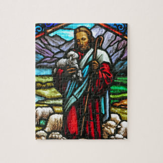 Stained glass image of Jesus and lambs Puzzles