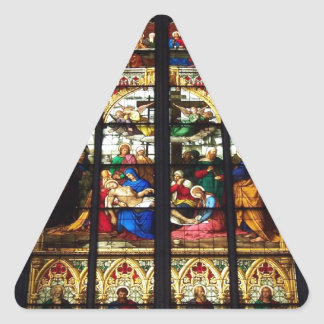 Stained-glass image triangle sticker