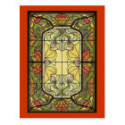Stained Glass in Moss and Orange Postcard