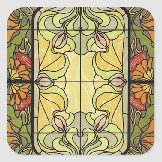 Stained Glass in Moss and Orange Square Sticker