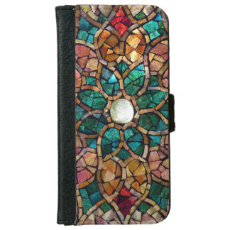 """Stained Glass iPhone 6 Wallet Case """"Autumn Star"""""""