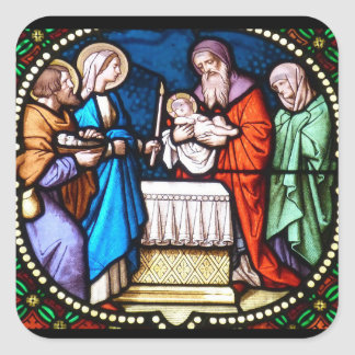 Stained Glass Jesus Christ Christmas Sticker