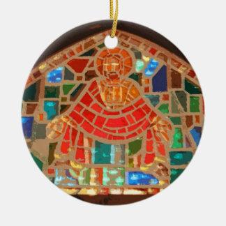 Stained glass Jesus Round Ceramic Ornament