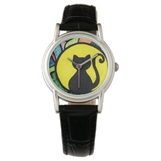 Stained Glass Kitty Artistic Watch