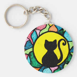 Stained Glass Kitty Key Chain