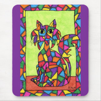 Stained Glass Kitty Mouse Pad