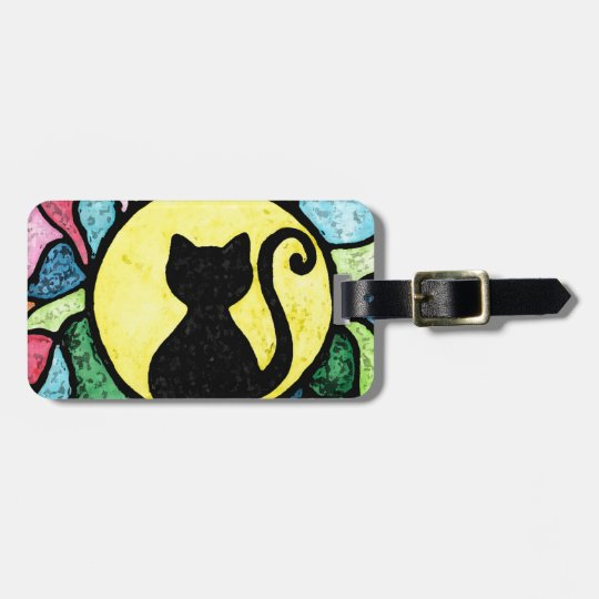 Stained Glass Kitty Watercolour Luggage Tag